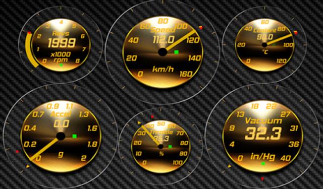 Gold OBD 2 Torque Theme screenshot 2