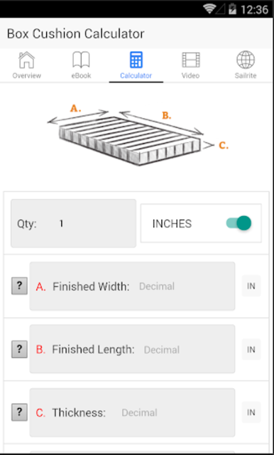 Box Cushion Fabrication screenshot 2