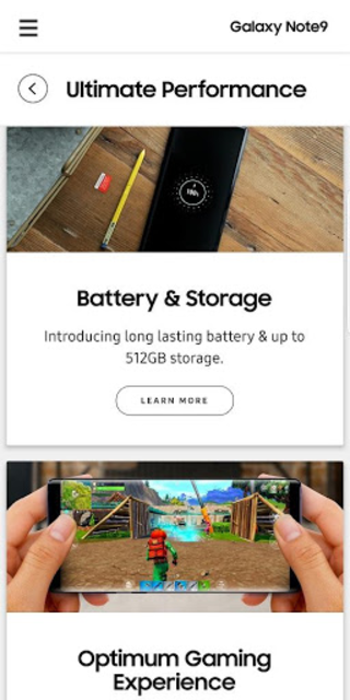 Experience app for Galaxy Note9 screenshot 2