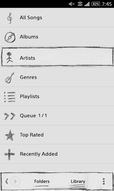 Poweramp Sketch Skin screenshot 1