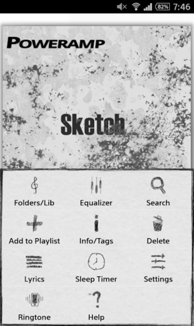 Poweramp Sketch Skin screenshot 2