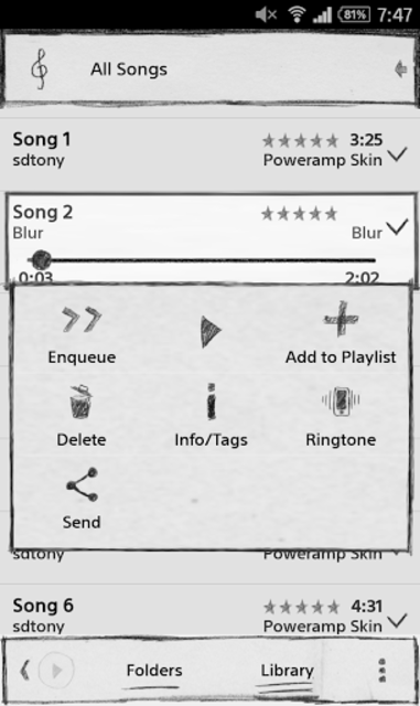 Poweramp Sketch Skin screenshot 4