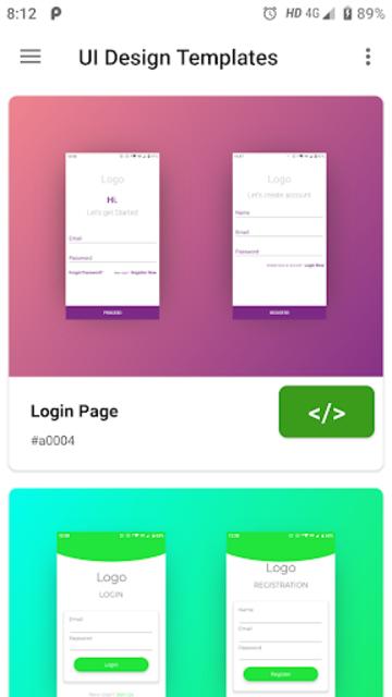 UI Design Templates with Source Code screenshot 1