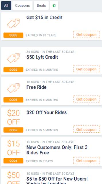 Free Rides - Cab coupons for Lyft screenshot 2