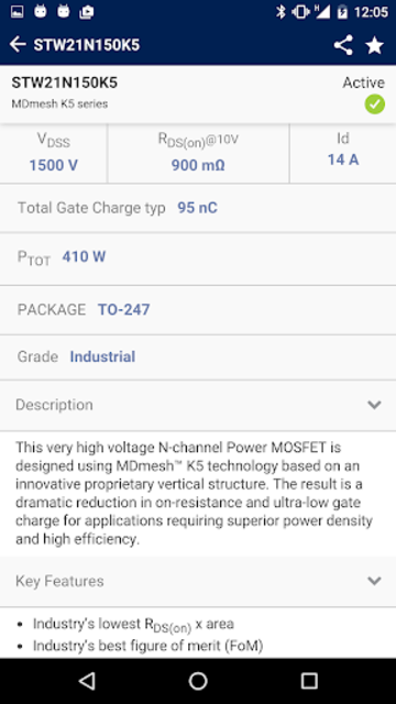 ST MOSFET Finder screenshot 4