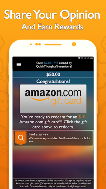 QuickThoughts: Take Surveys Earn Gift Card Rewards screenshot 2
