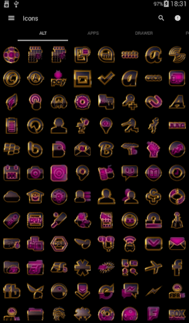 PINK icon pack pink glow black gold screenshot 3
