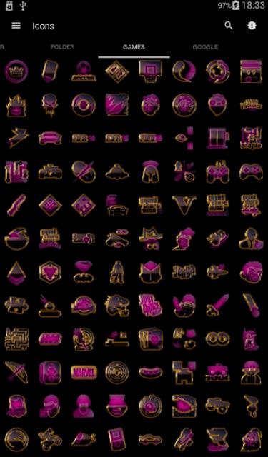 PINK icon pack pink glow black gold screenshot 5