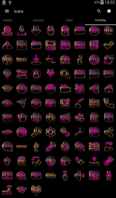 PINK icon pack pink glow black gold screenshot 6