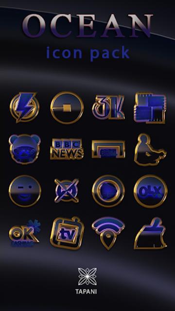 OCEAN icon pack blue black gold screenshot 1