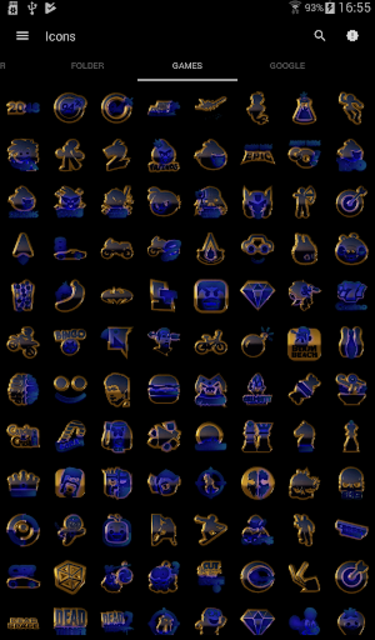 OCEAN icon pack blue black gold screenshot 5