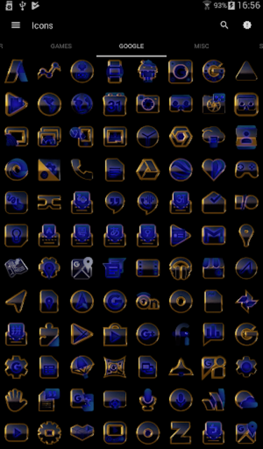 OCEAN icon pack blue black gold screenshot 6