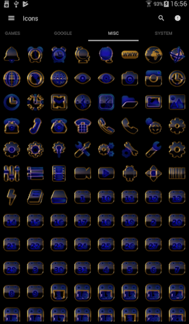 OCEAN icon pack blue black gold screenshot 7