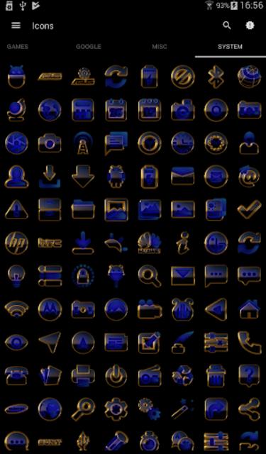 OCEAN icon pack blue black gold screenshot 8