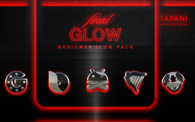 GLOW RED icon pack HD 3D screenshot 8