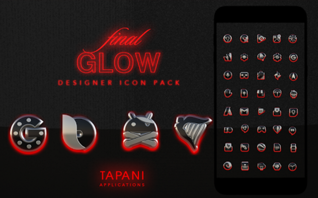 GLOW RED icon pack HD 3D screenshot 9