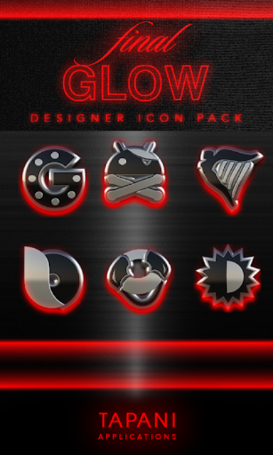 GLOW RED icon pack HD 3D screenshot 1