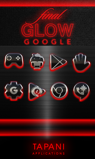 GLOW RED icon pack HD 3D screenshot 5
