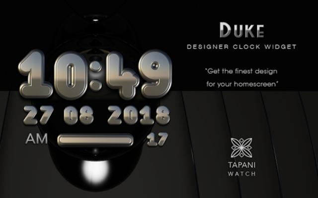 DUKE Digital Clock Widget  black silver screenshot 3