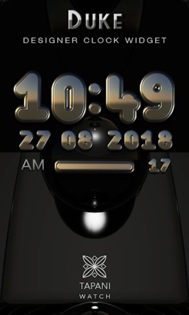 DUKE Digital Clock Widget  black silver screenshot 1