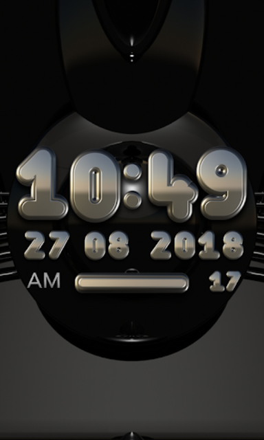 DUKE Digital Clock Widget  black silver screenshot 2