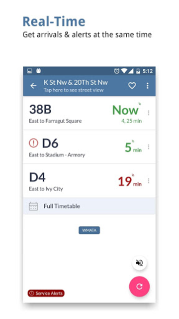 DC Transit : WMATA Metro & Bus Tracker App screenshot 1