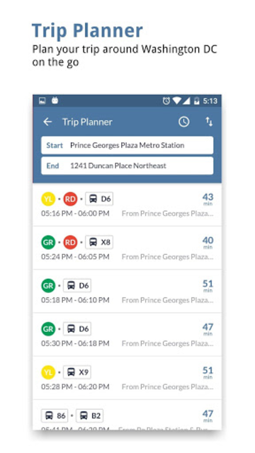 DC Transit : WMATA Metro & Bus Tracker App screenshot 2