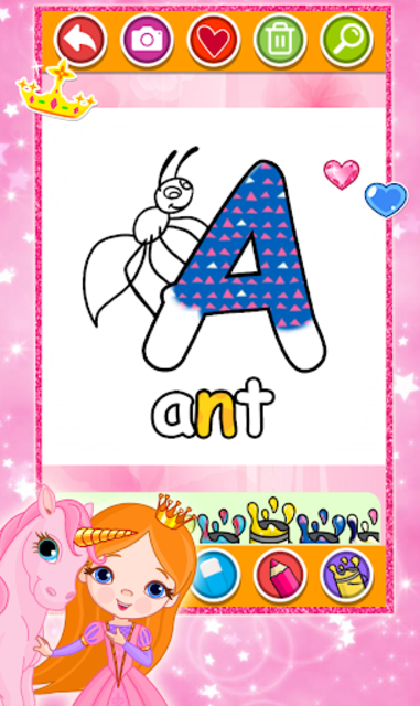 Glitter Number and letters Coloring for kids screenshot 2