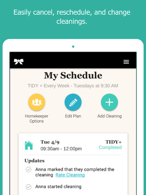 TIDY - Home Cleanings screenshot 2