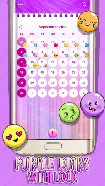 Purple Diary with Lock screenshot 1