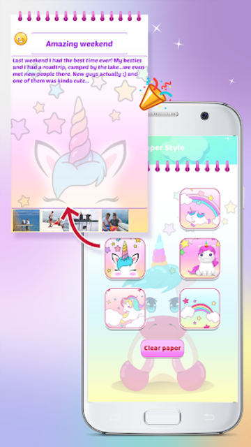 Unicorn Diary with Lock screenshot 5