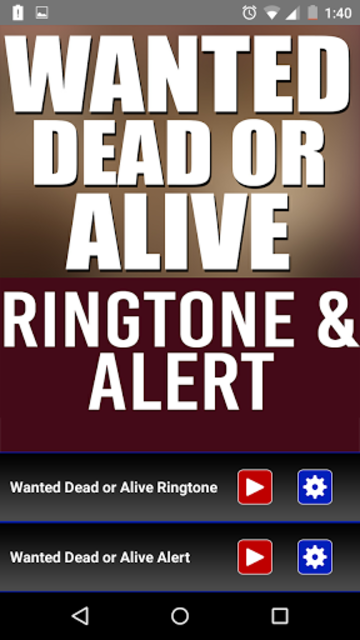 Wanted Dead Or Alive Ringtone screenshot 1