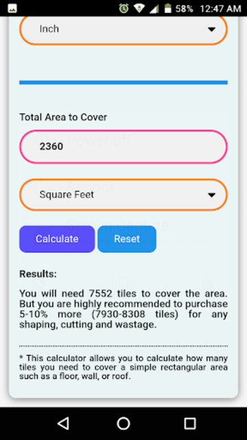 Floor & Wall Tiles Calculator screenshot 7