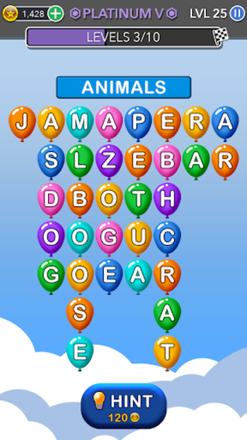 Word Balloons - Word Games free for Adults screenshot 1