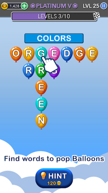 Word Balloons - Word Games free for Adults screenshot 2