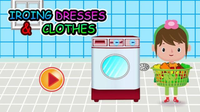 Washing and Ironing Clothes: Kids Laundry Game screenshot 1
