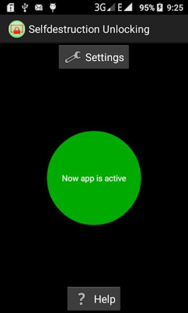Self-destruction Unlocking (wipe files and data) screenshot 1