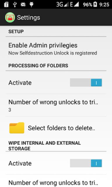 Self-destruction Unlocking (wipe files and data) screenshot 2