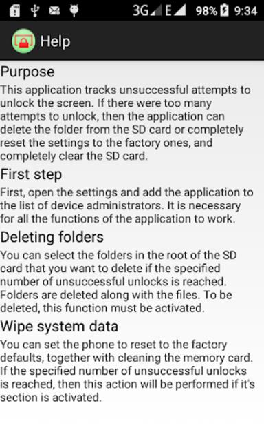 Self-destruction Unlocking (wipe files and data) screenshot 5