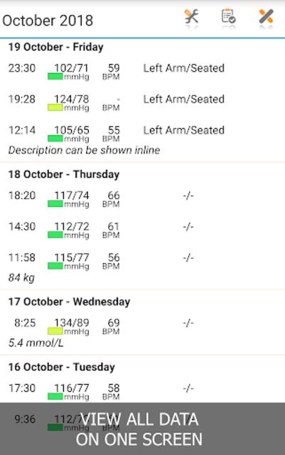 Blood Pressure Log - MyDiary screenshot 2