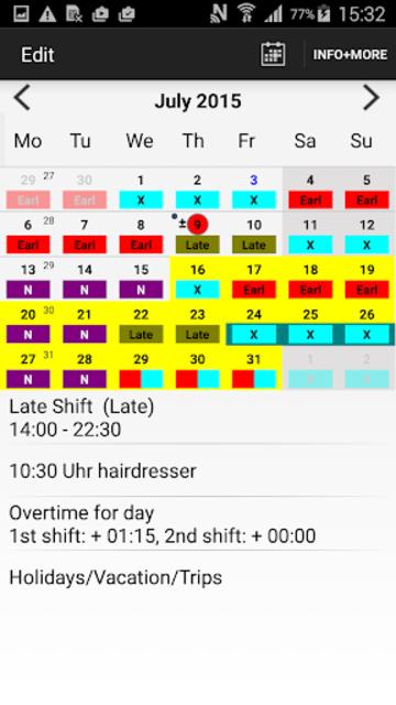 Roster-Calendar Pro screenshot 1