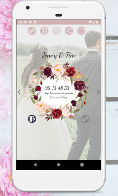 Wedding Countdown Boho Vintage Flower Widget screenshot 2