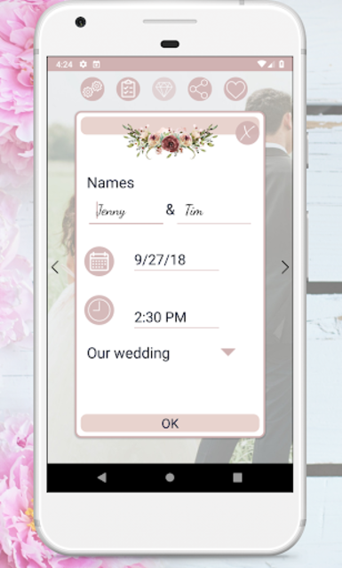 Wedding Countdown Boho Vintage Flower Widget screenshot 3