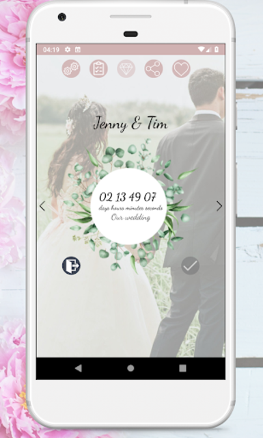 Wedding Countdown Boho Vintage Flower Widget screenshot 6