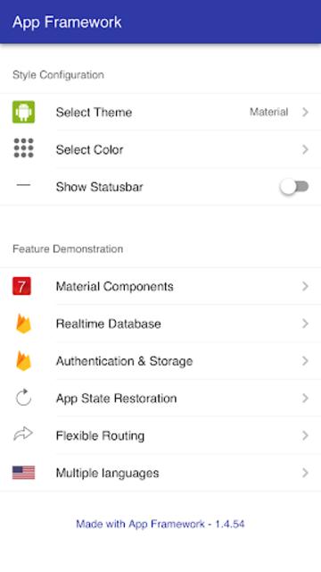 App Framework screenshot 1