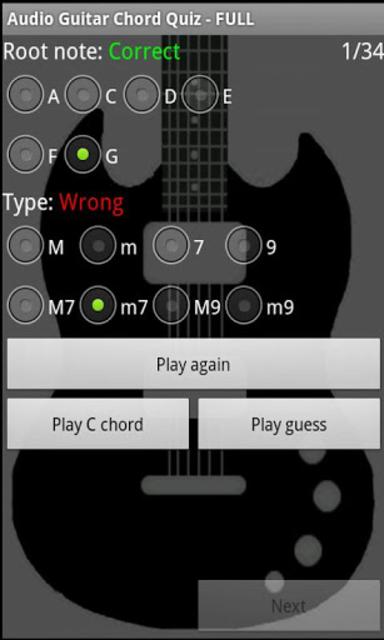 Audio Guitar Chord Quiz - FULL screenshot 1