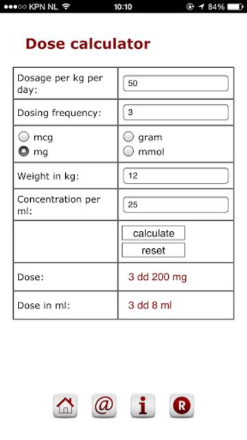 Pediatric dose calculator screenshot 1