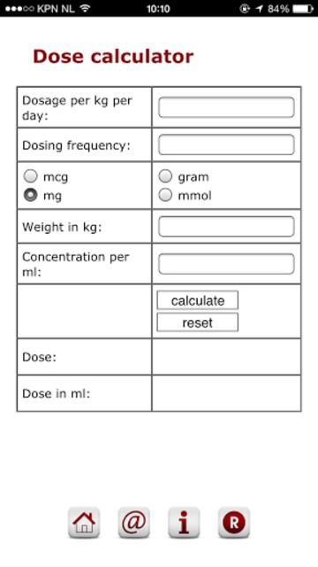 Pediatric dose calculator screenshot 2