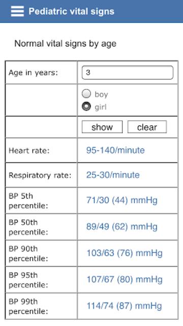 Pediatric vital signs screenshot 2