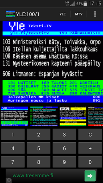 TekstiTV screenshot 1